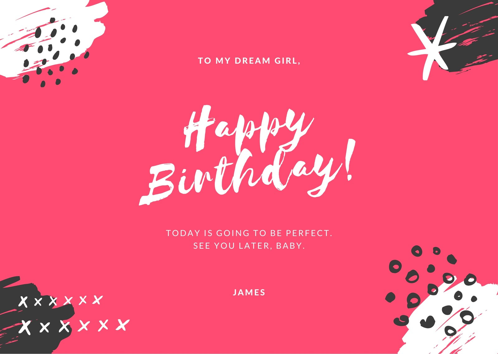 Pink and Blue and White Brush Strokes Girlfriend Birthday Card