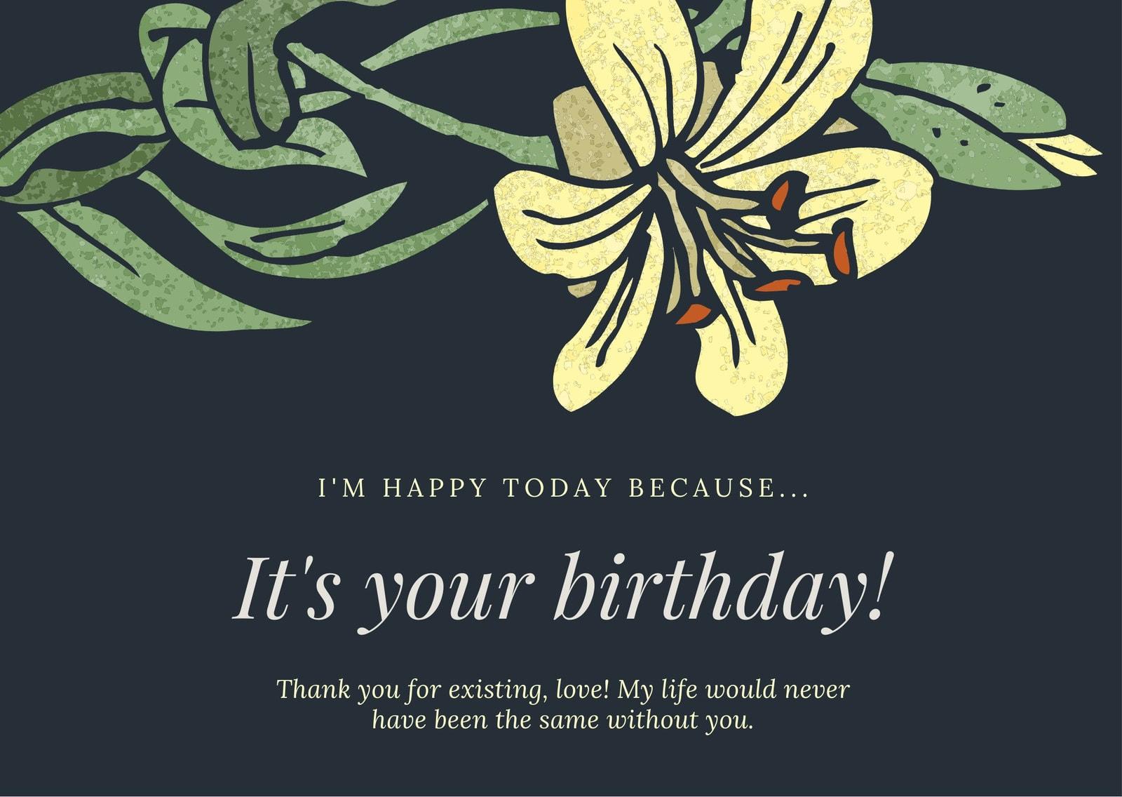 Dark Blue Yellow Flower Girlfriend Birthday Card