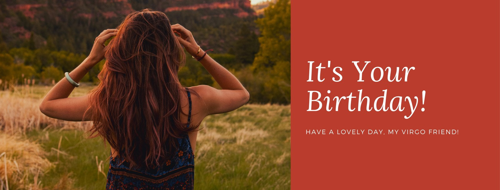 Red Boho Woman Virgo Birthday Greeting Facebook Cover