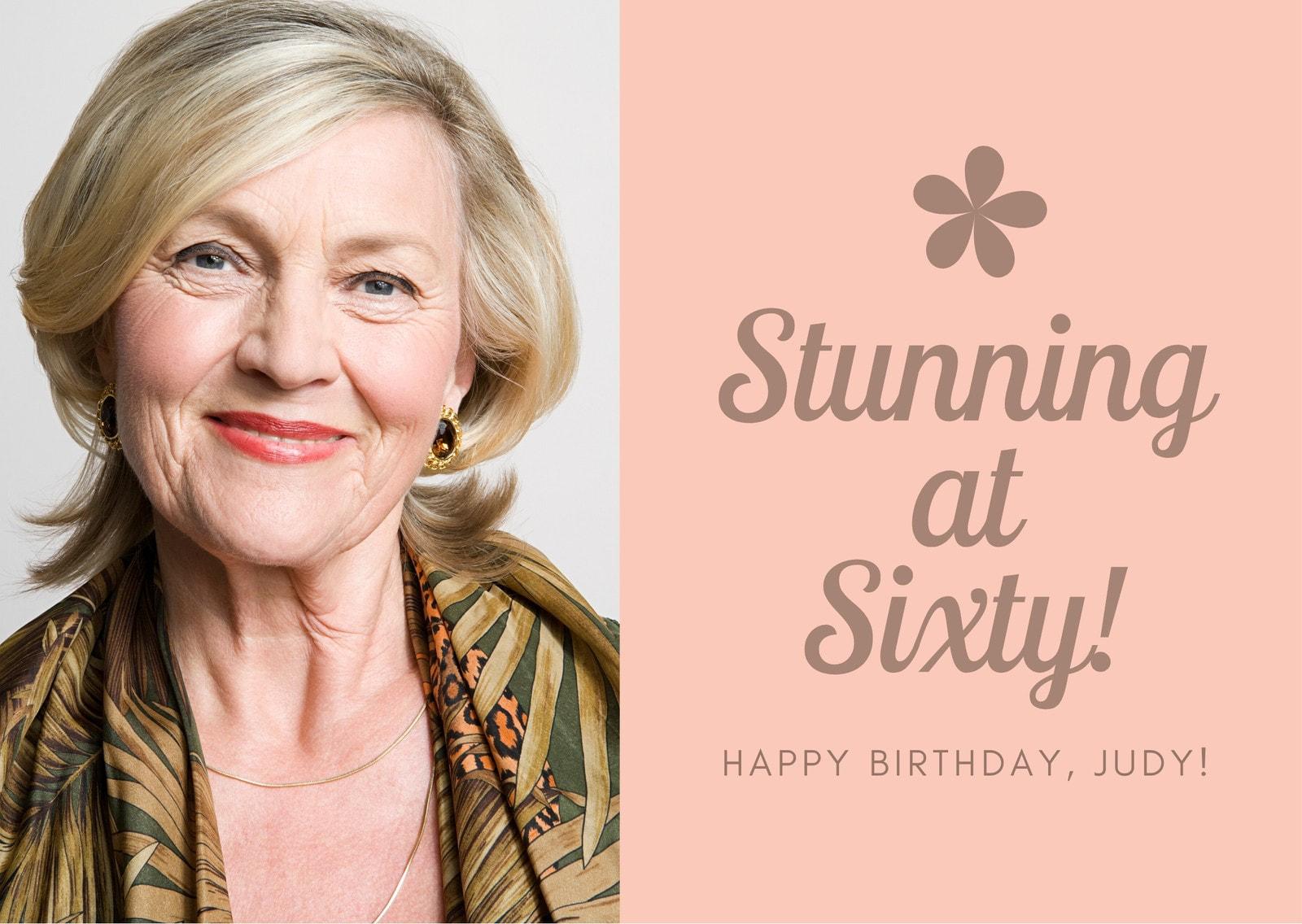 Peach Woman Photo 60th Birthday Card