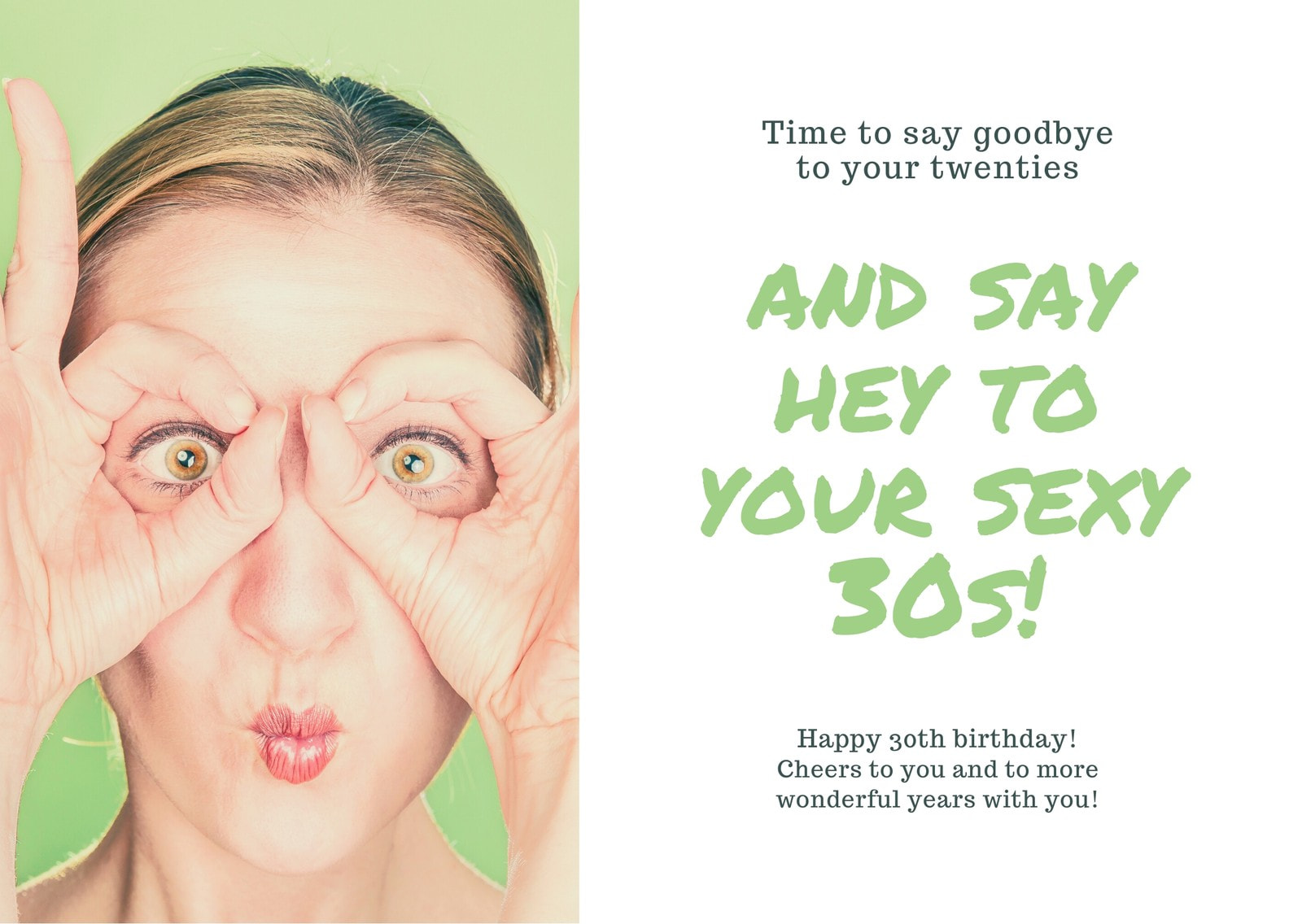 Green Woman Photo 30th Birthday Card