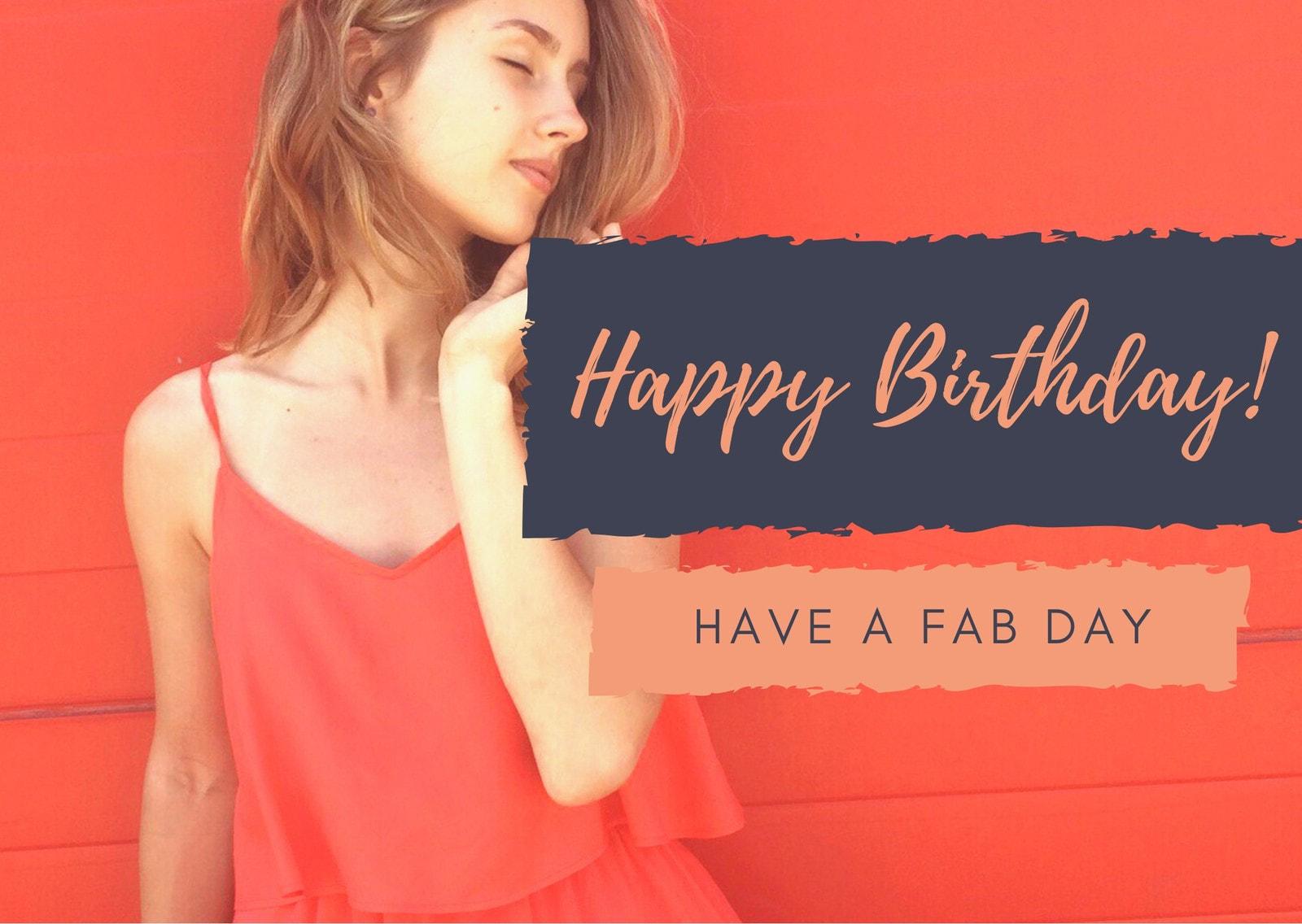 Orange Woman Photo Birthday Card