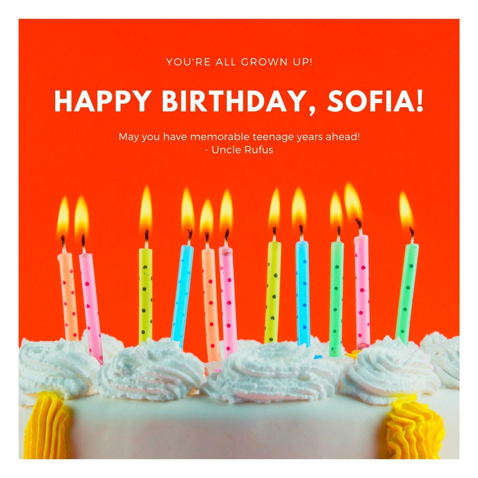 Happy Birthday Teenager Social Media Post