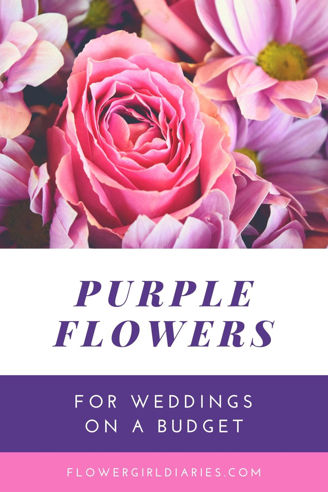 Purple Wedding Flowers on a Budget Blog Graphic