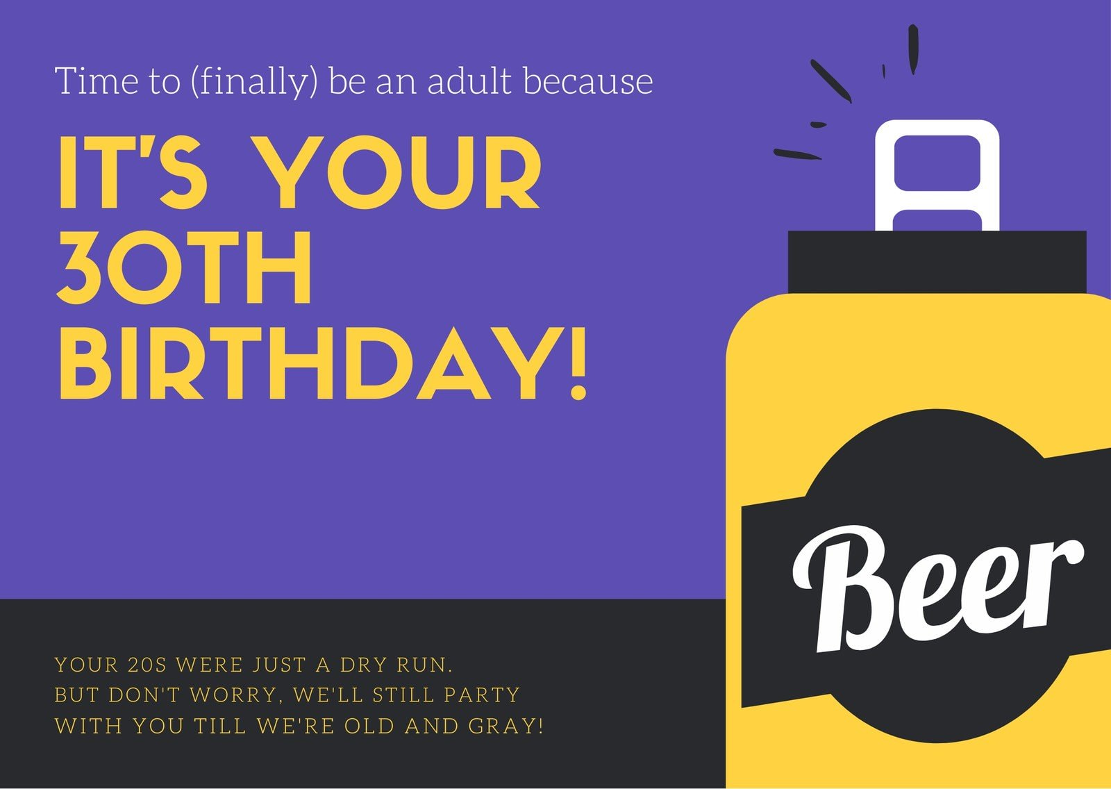 Violet Illustrated Beer Can 30th Birthday Card