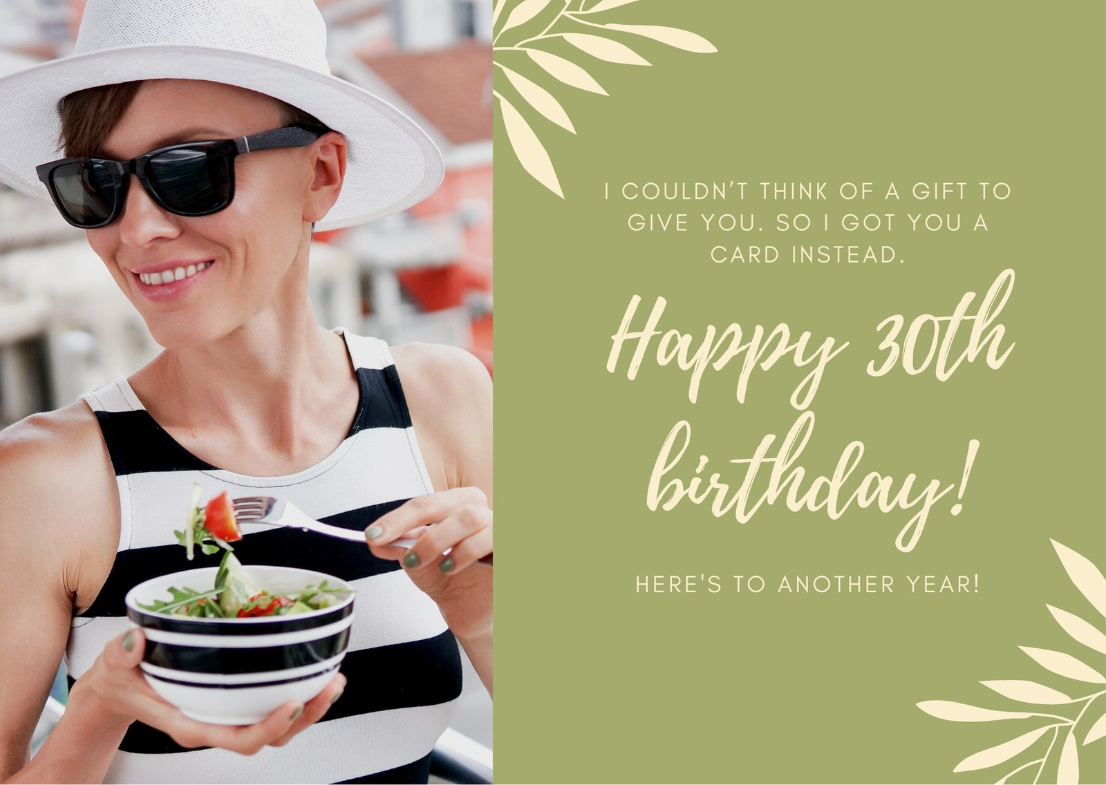 Green Woman Photo Illustration 30th Birthday Card