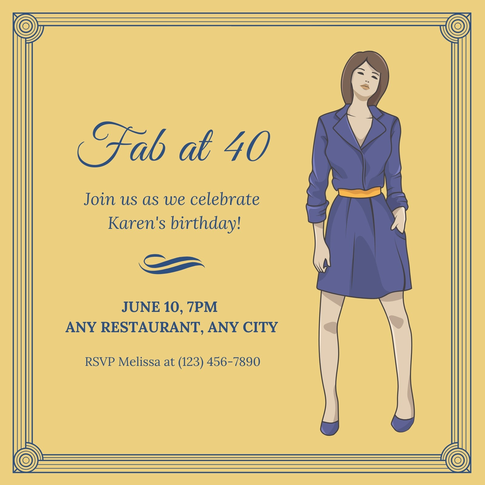 Blue Gold Fab 40th Birthday Invitation