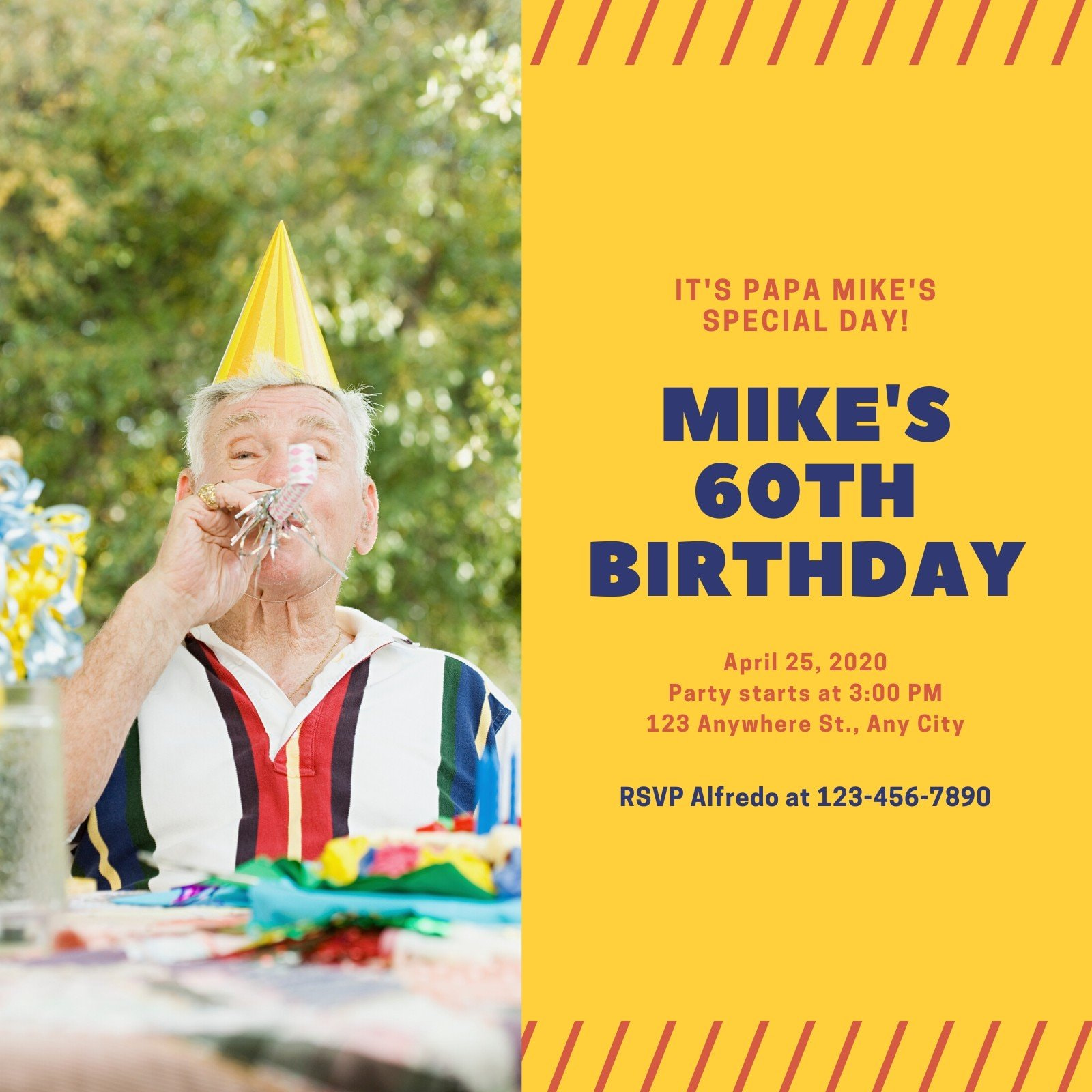 Yellow Blue Photo 60th Birthday Invitation