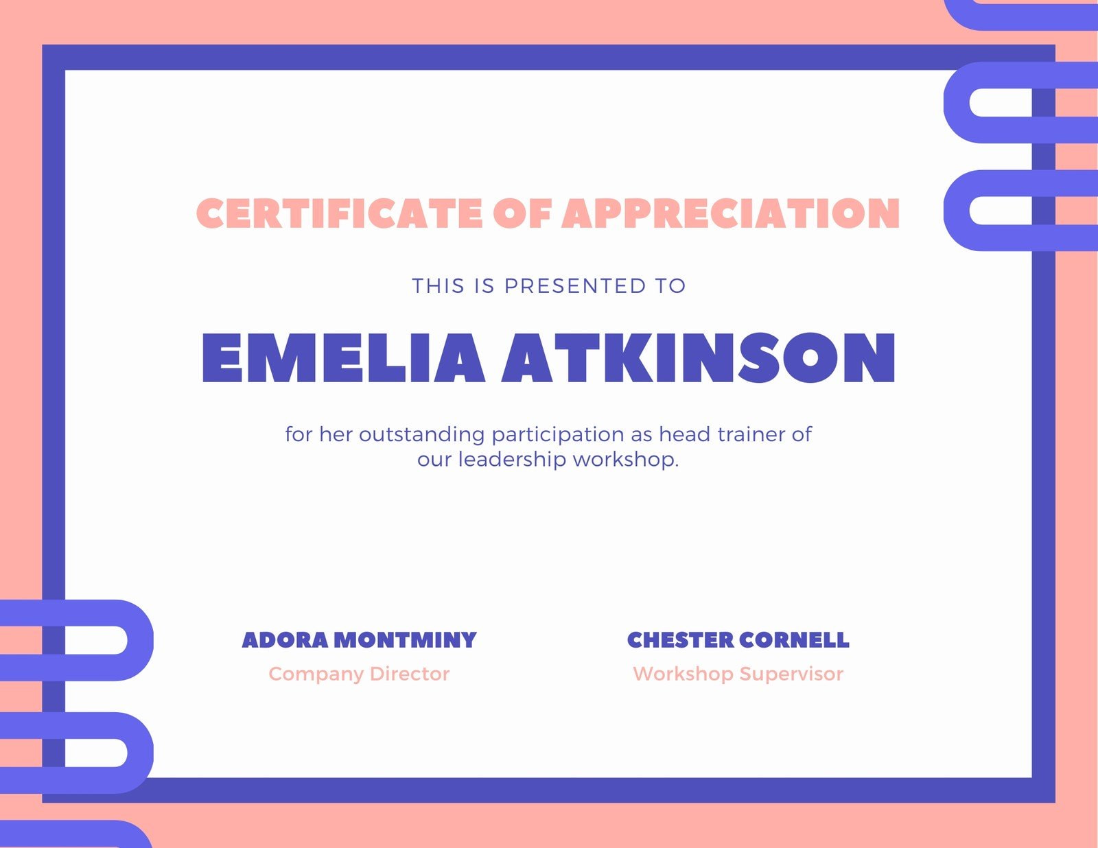 Pink and Blue Work Certificate