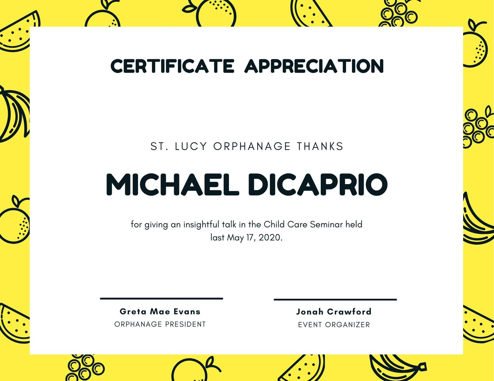 Yellow Fruits Appreciation Certificate
