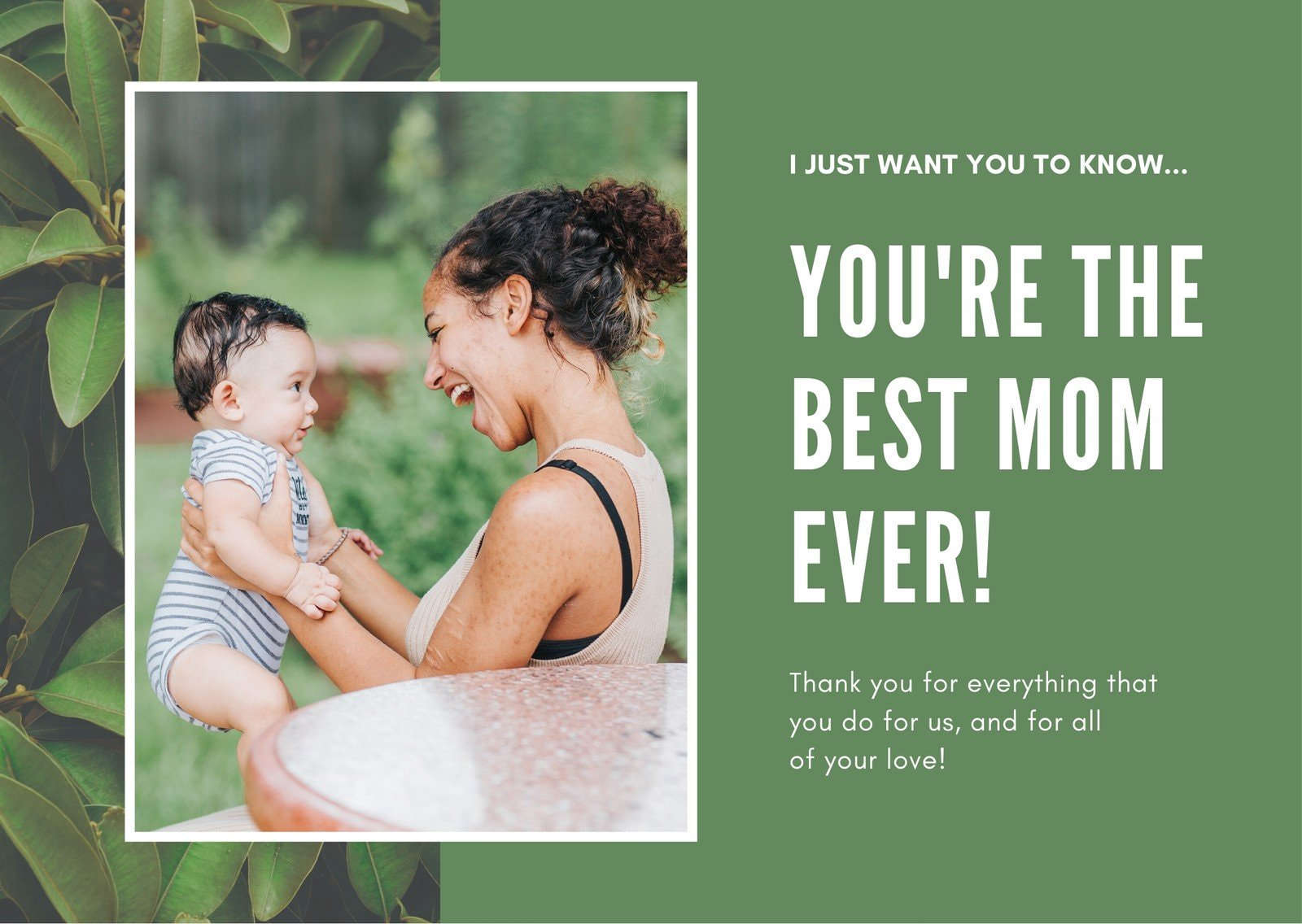 Green Modern Mother's Day Personal Card