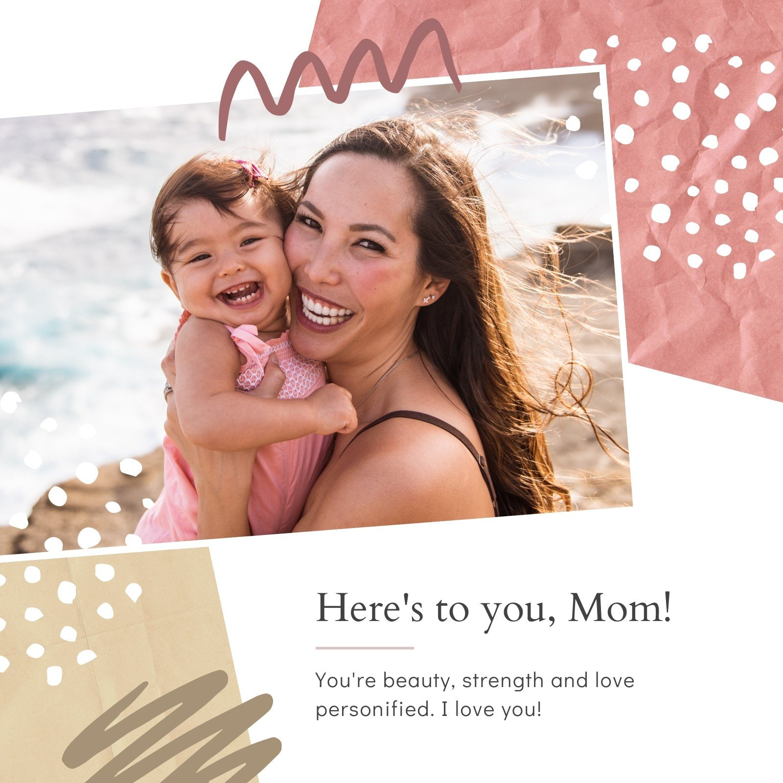Maroon and Brown Mother's Day Personal Instagram Post