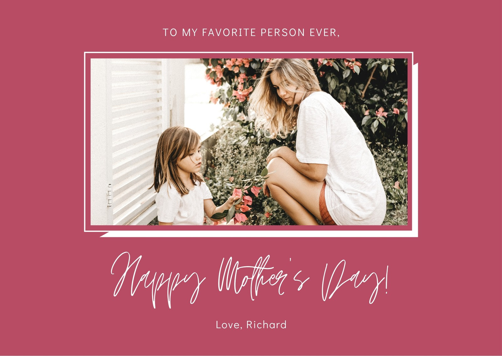 Pink & White Simple Mother's Day Greeting Card
