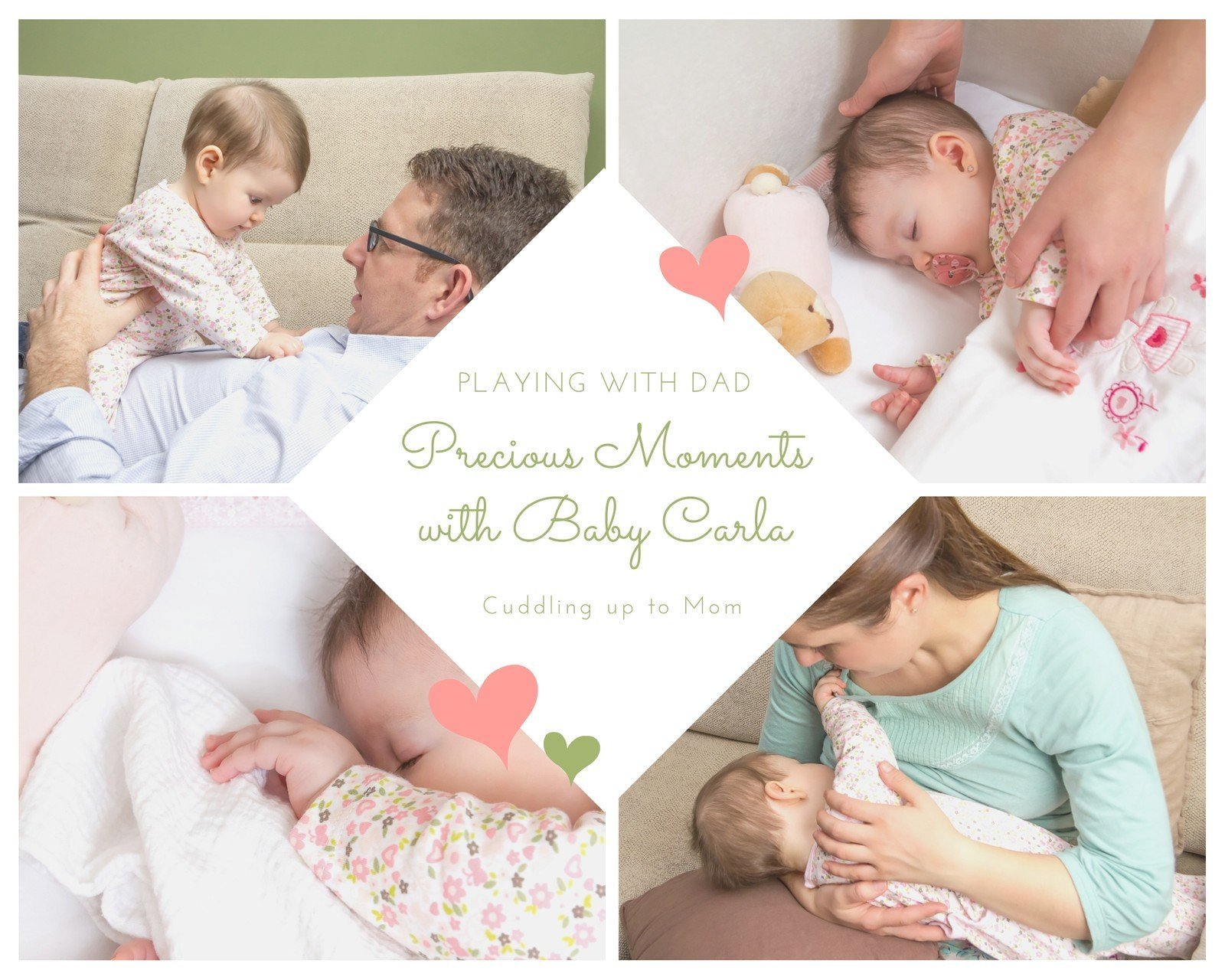 Cute Diamond Baby Girl Photo Collage