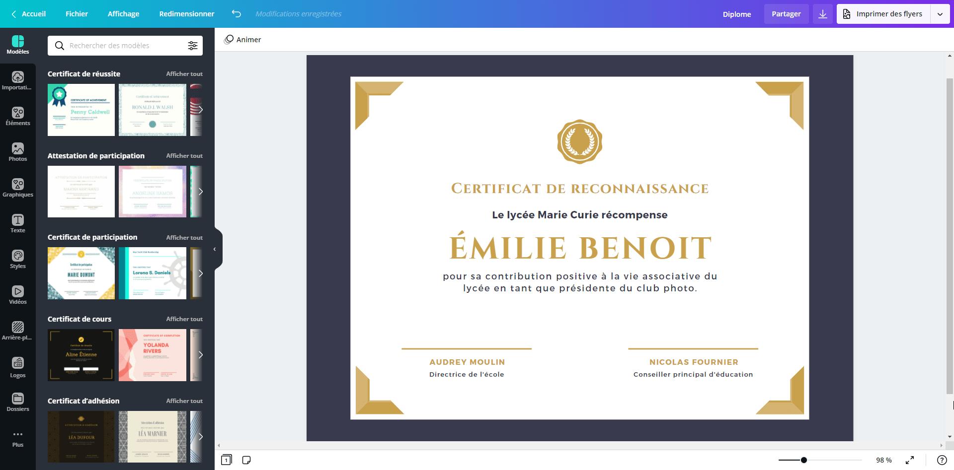 Modele De Diplome Vierge Gratuit A Imprimer Canva