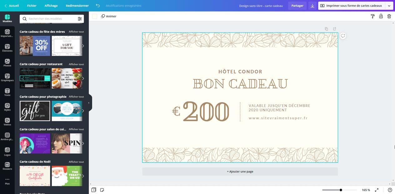 Createur De Bon Carte Cadeau A Imprimer En Ligne Canva