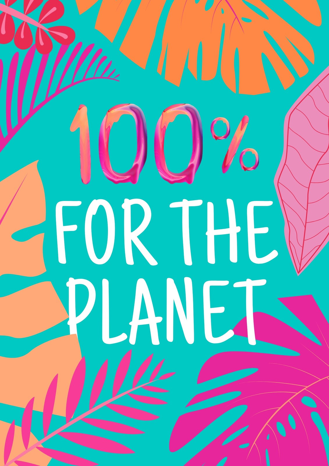 Teal and Pink Tropical Climate Change Poster