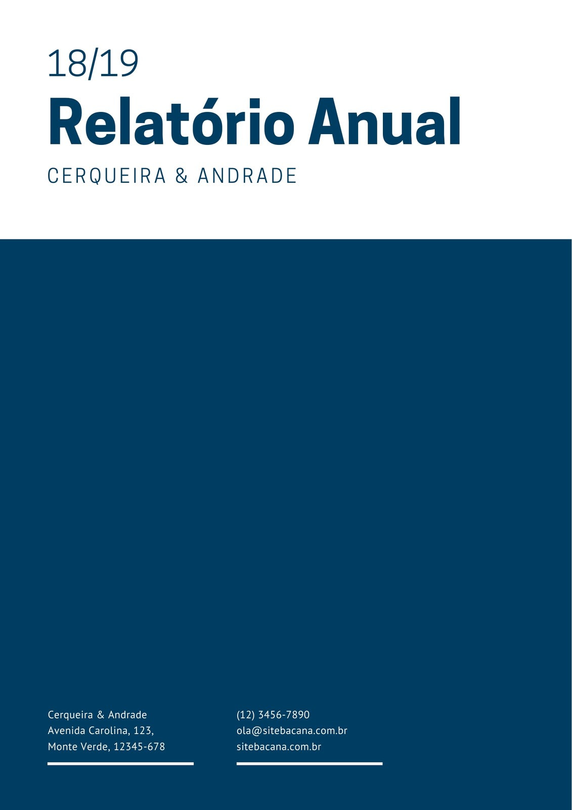 Azul Escuro Minimalista Formal Anual Relatório