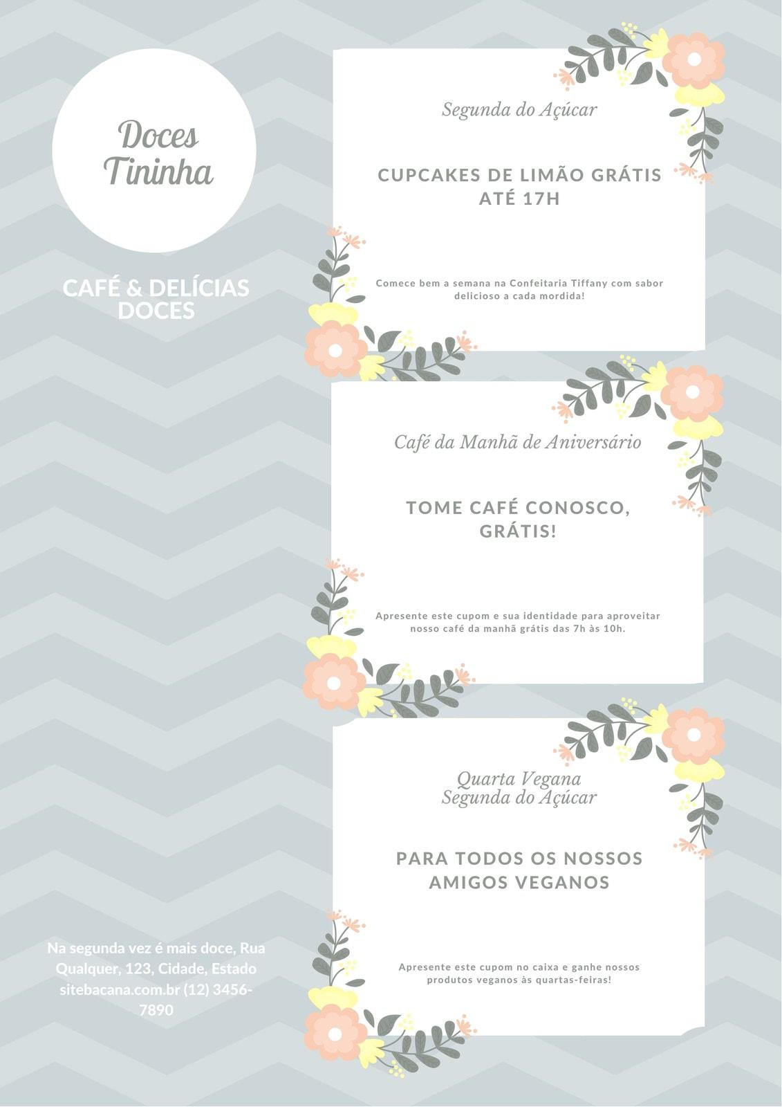 Pastel Flores Sobremesa Cupom