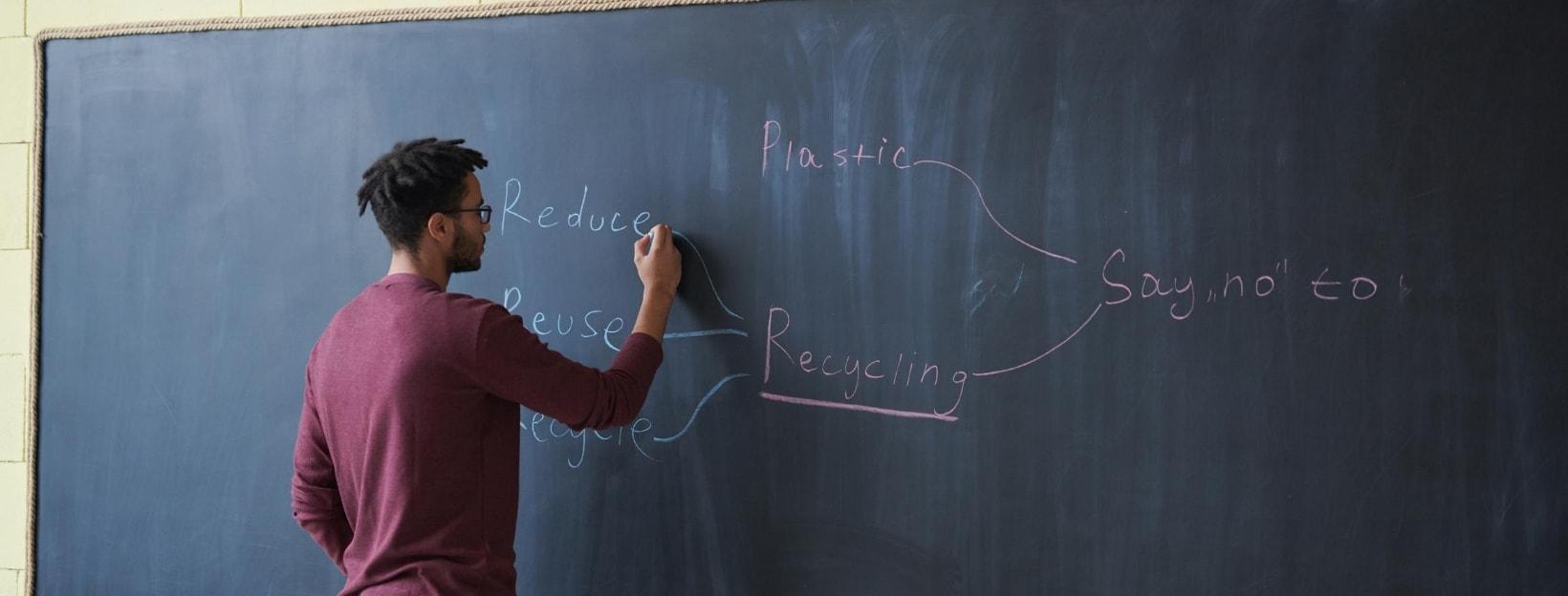 Präsentieren und Vortrag halten: Mann schreibt an Tafel