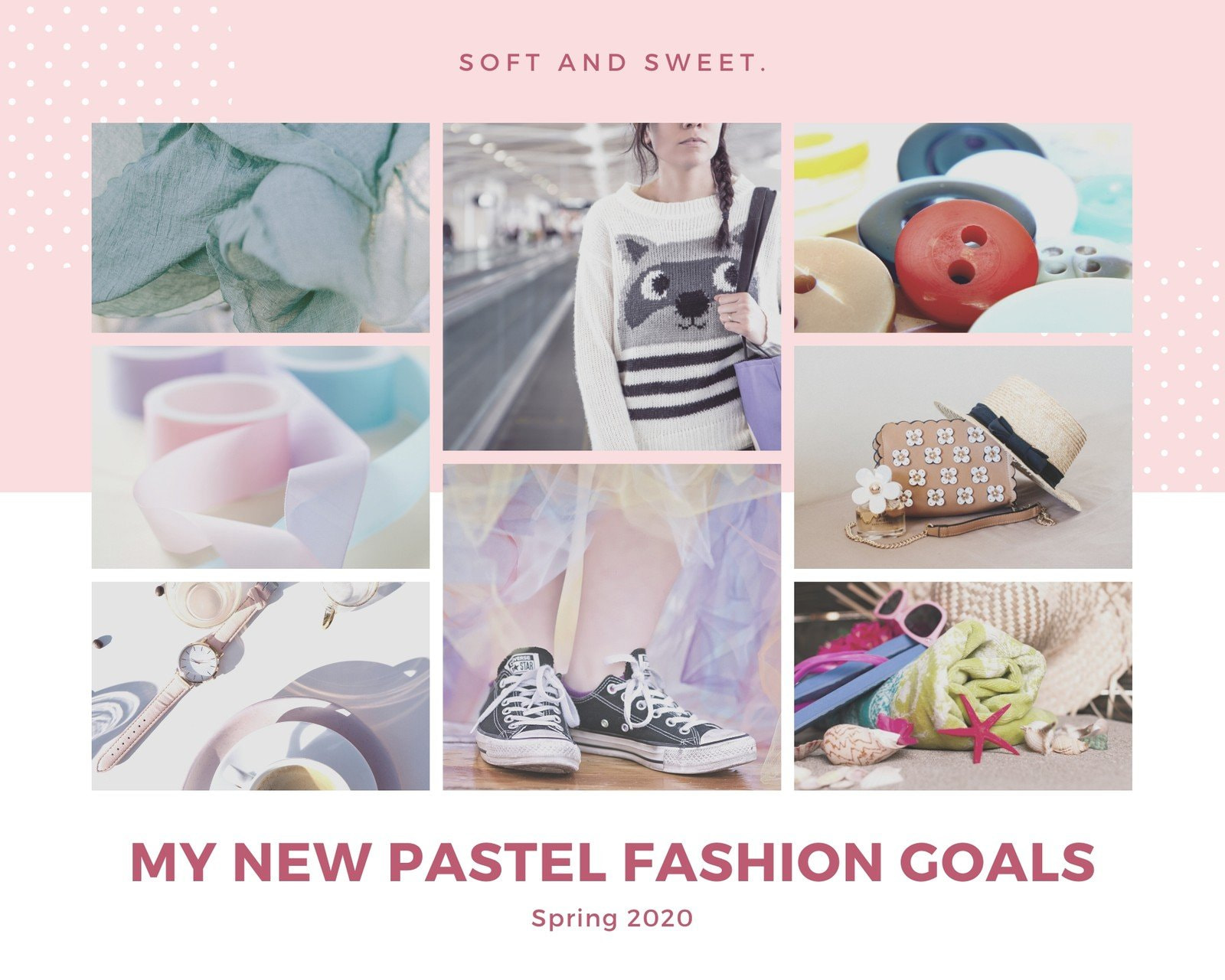 Pastel Fashion Photo Grid Mood Board Photo Collage
