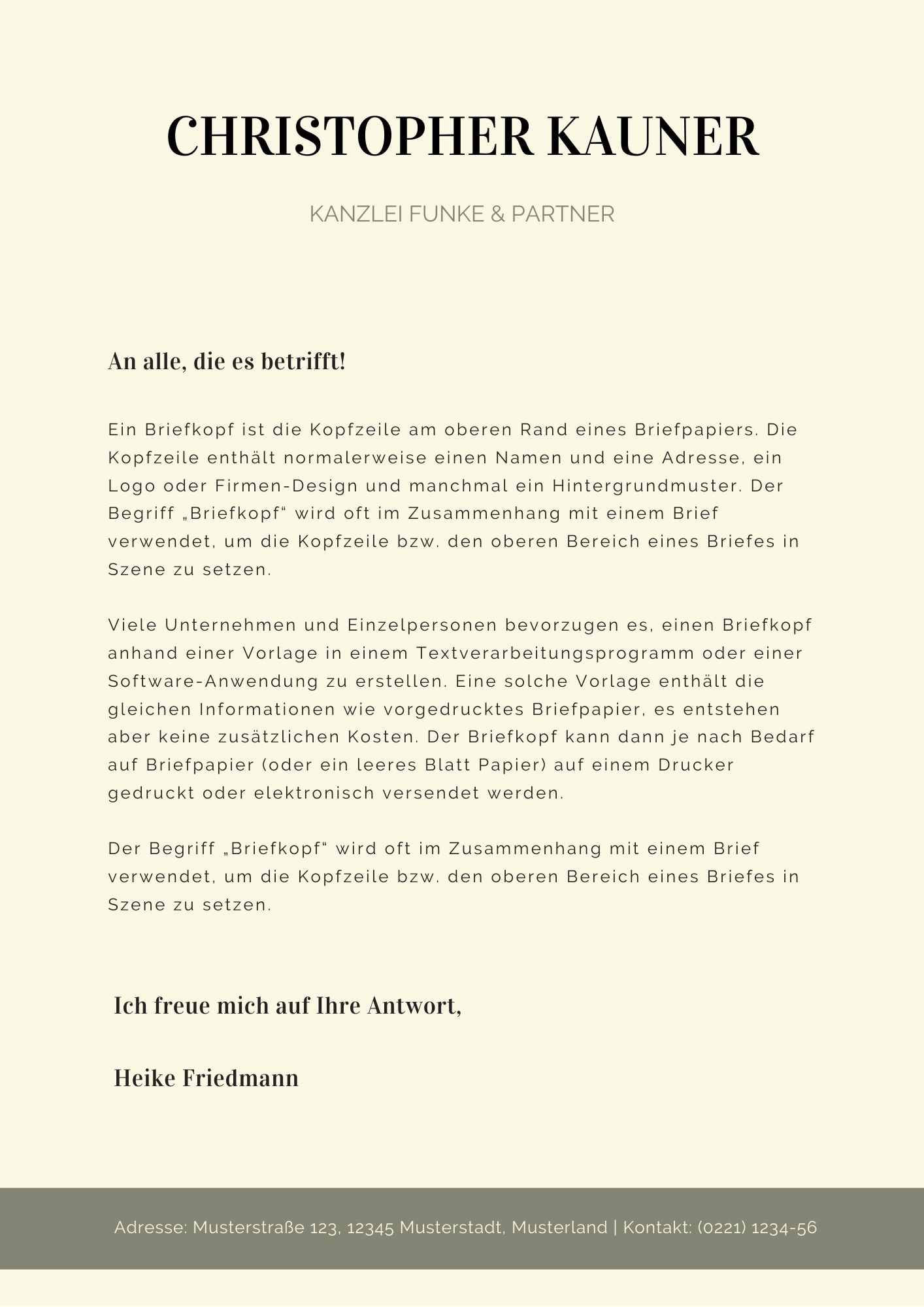 Kostenlose Word Briefkopf Vorlagen Herunterladen 12