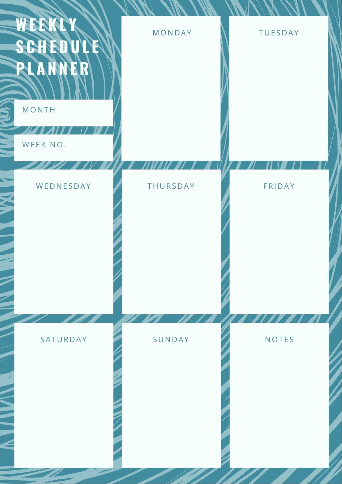 Blue Wave Pattern Weekly Schedule Planner