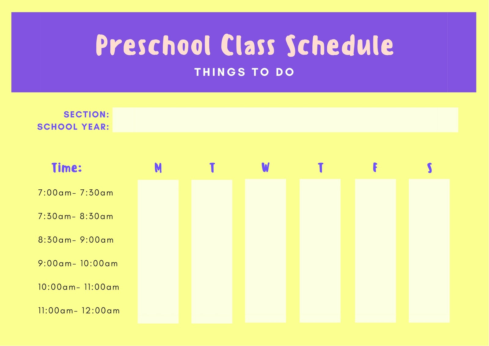 Yellow and Purple Preschool Class Schedule