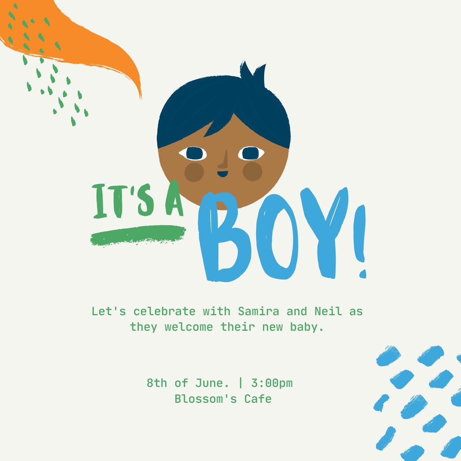 Colorful Brushstroke Boy Baby Shower Invitation