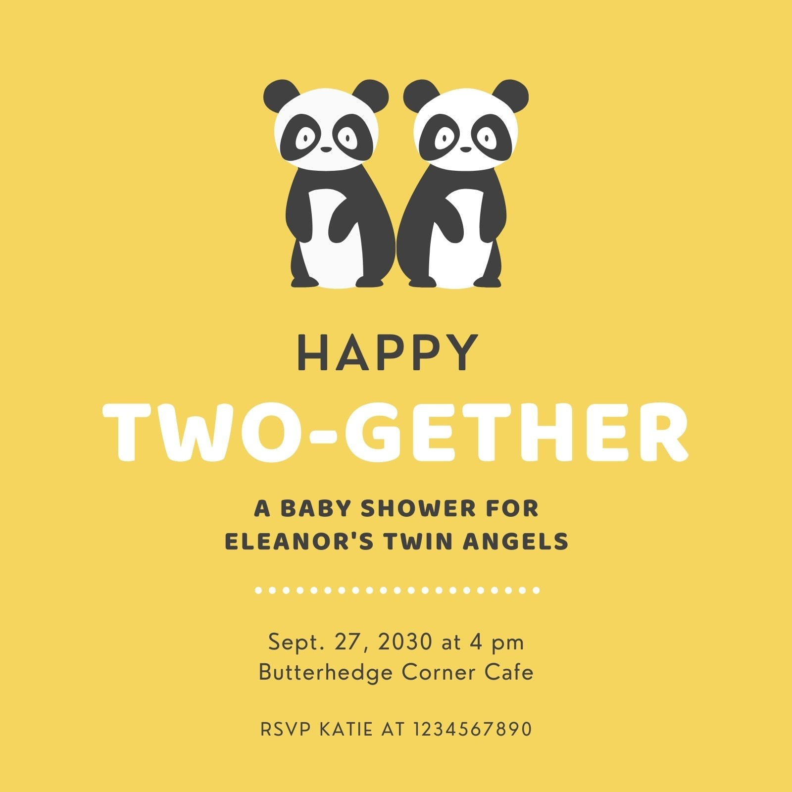 Yellow Panda Twin Baby Shower Invitation