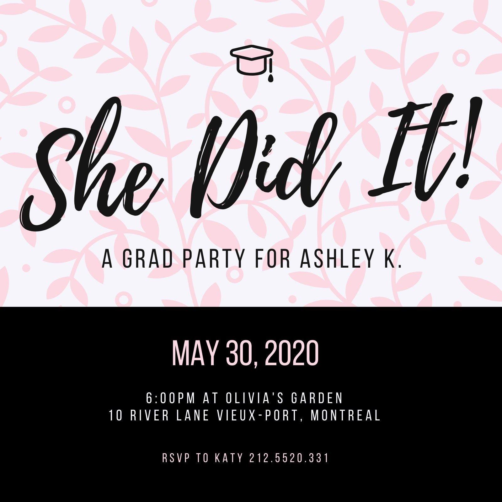 Pink Black Leaves Graduation Invitation