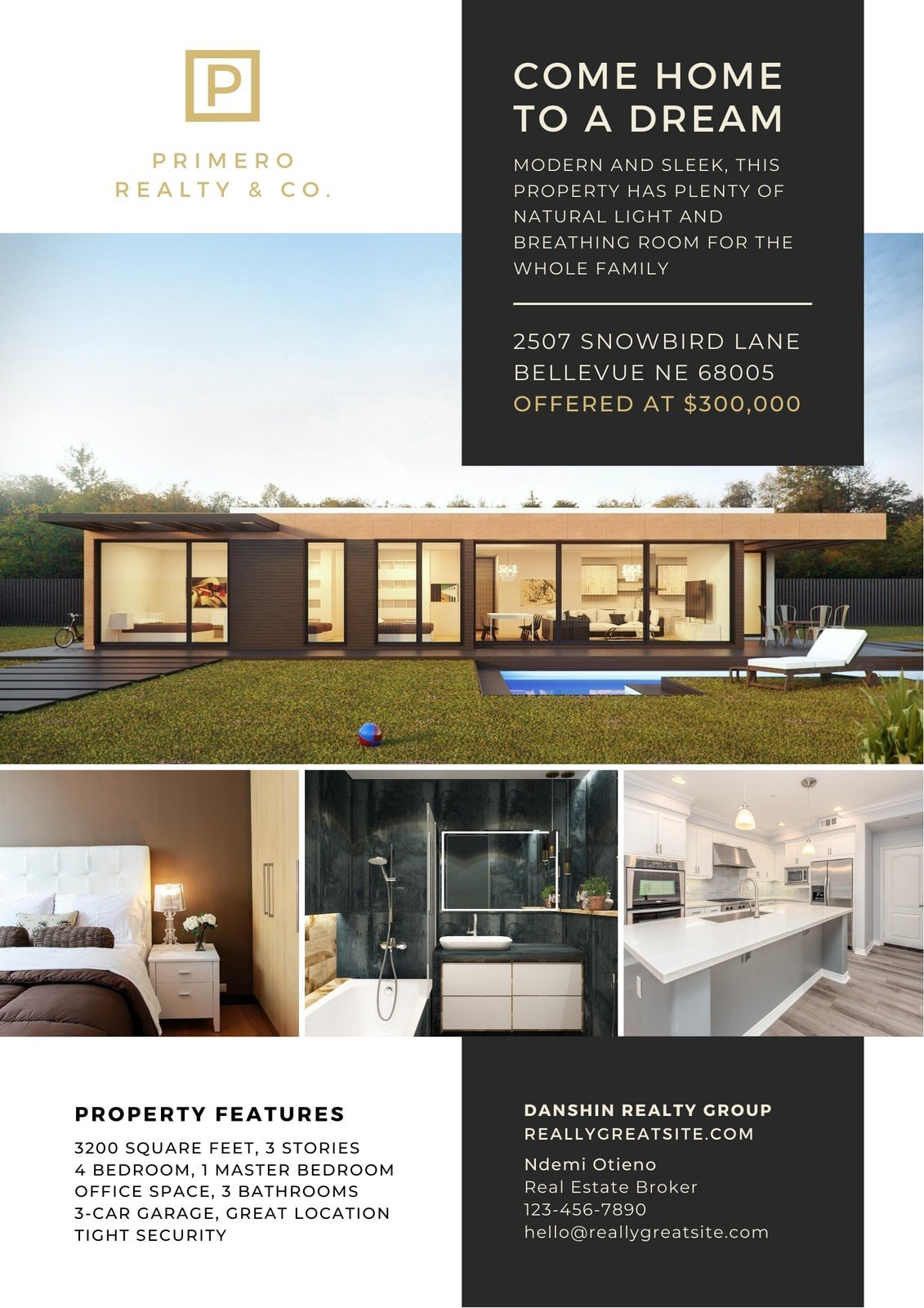 Gold and Charcoal Real Estate Business Flyer