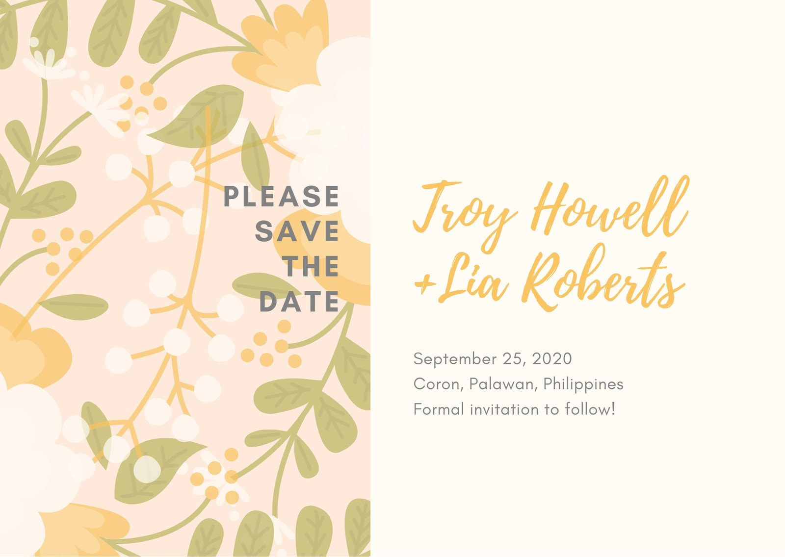 Beige Floral Save the Date Wedding Card