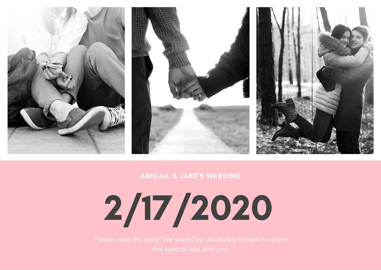 Pink Grey Photo Save The Date Wedding Card