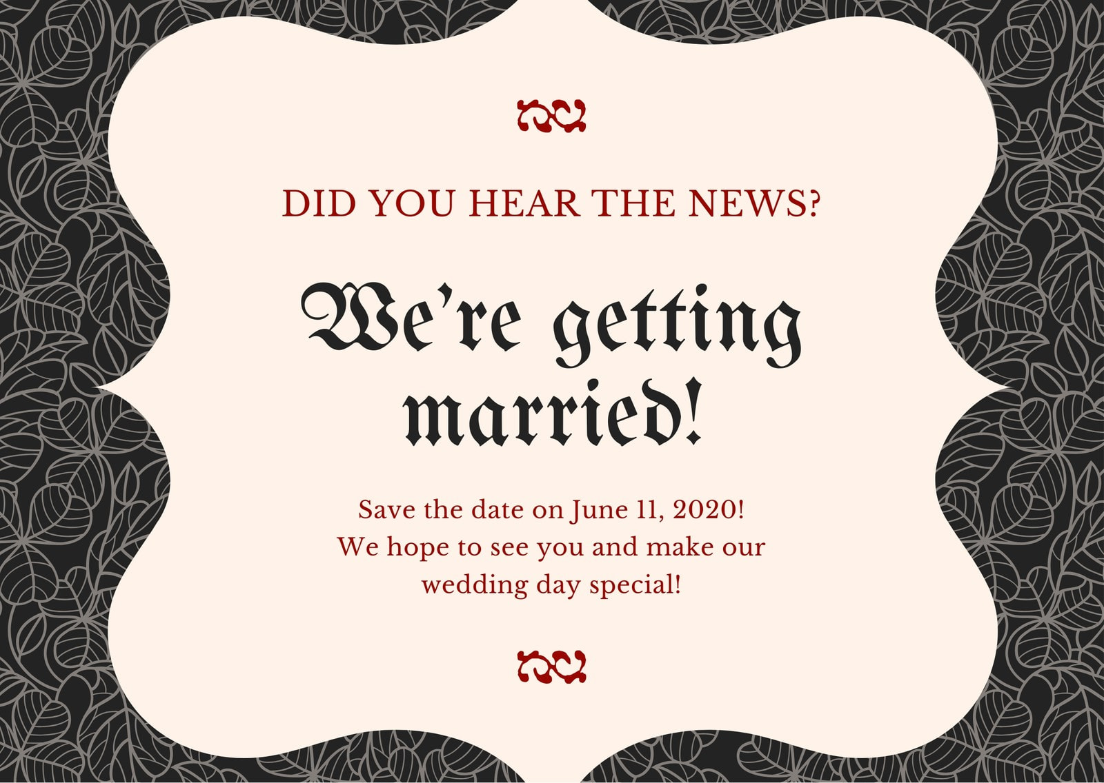 Floral Gothic Wedding Save The Date Card