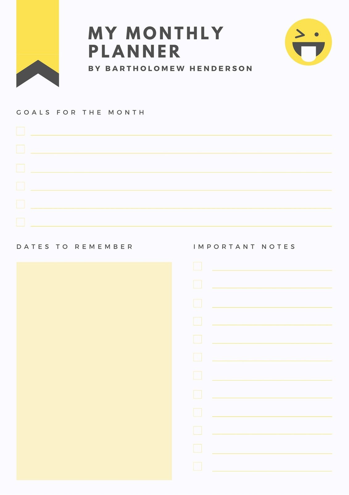 Yellow and Charcoal General Personal Monthly Planner