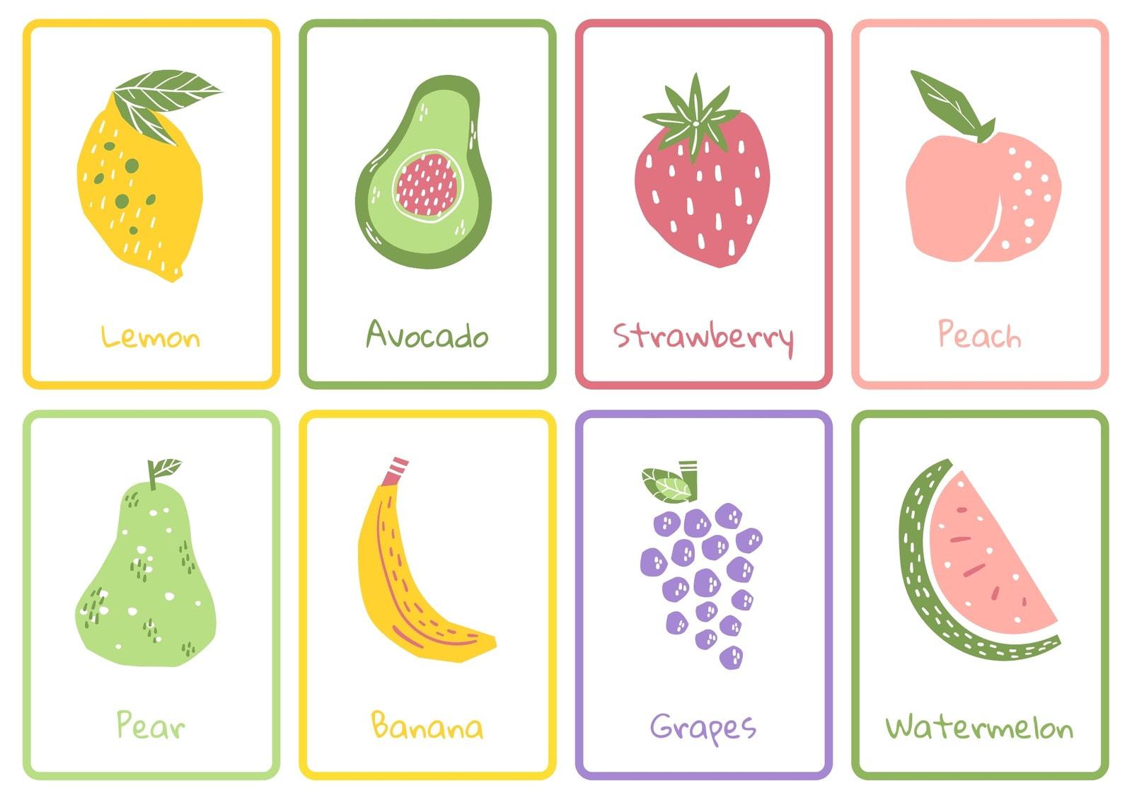 Fruits Colorful Handdrawn Flashcard Sheets