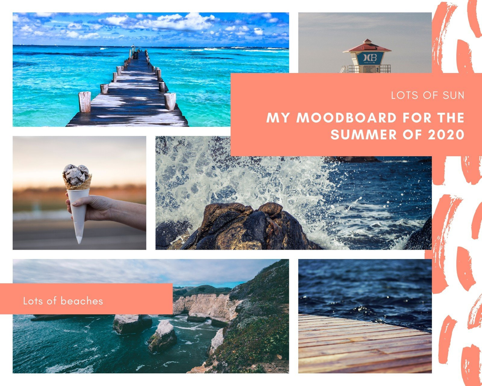White Grid and Salmon Pink Brush Stroke Summer Mood Board Photo Collage