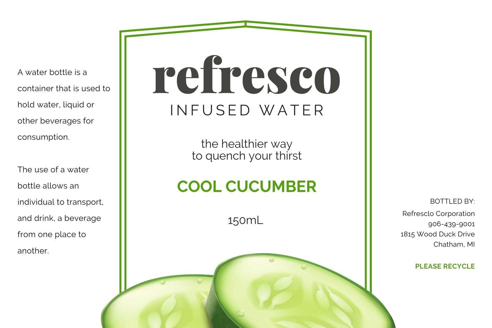 Green Cucumber Water Bottle Label