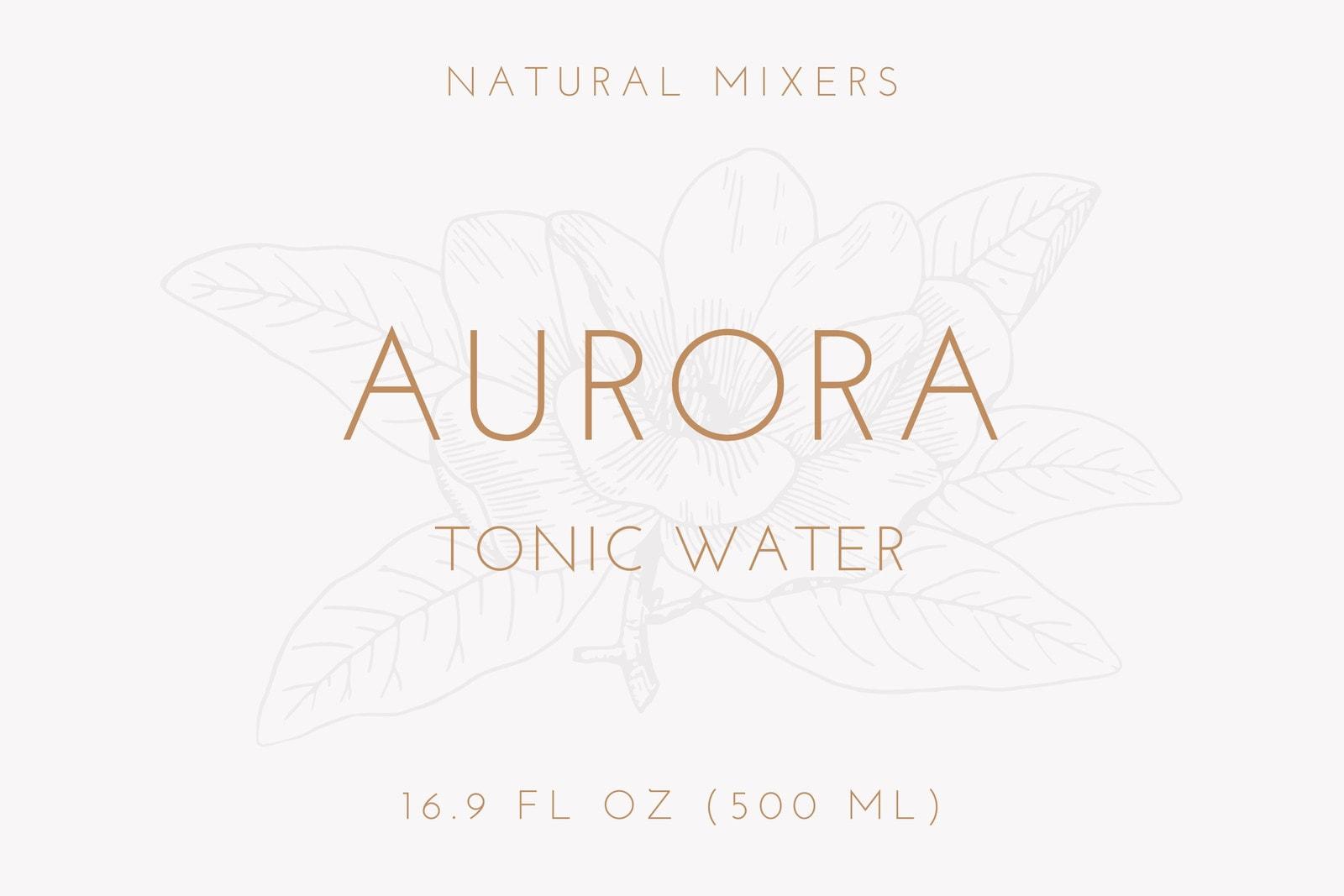 Brown Vintage Flower Illustration Tonic Water Bottle Label