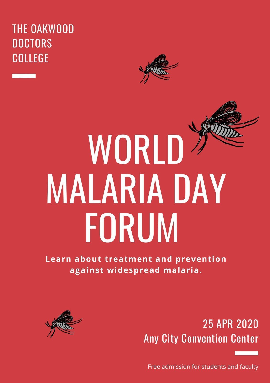 Red and White Illustrated Mosquitos World Malaria Day Poster