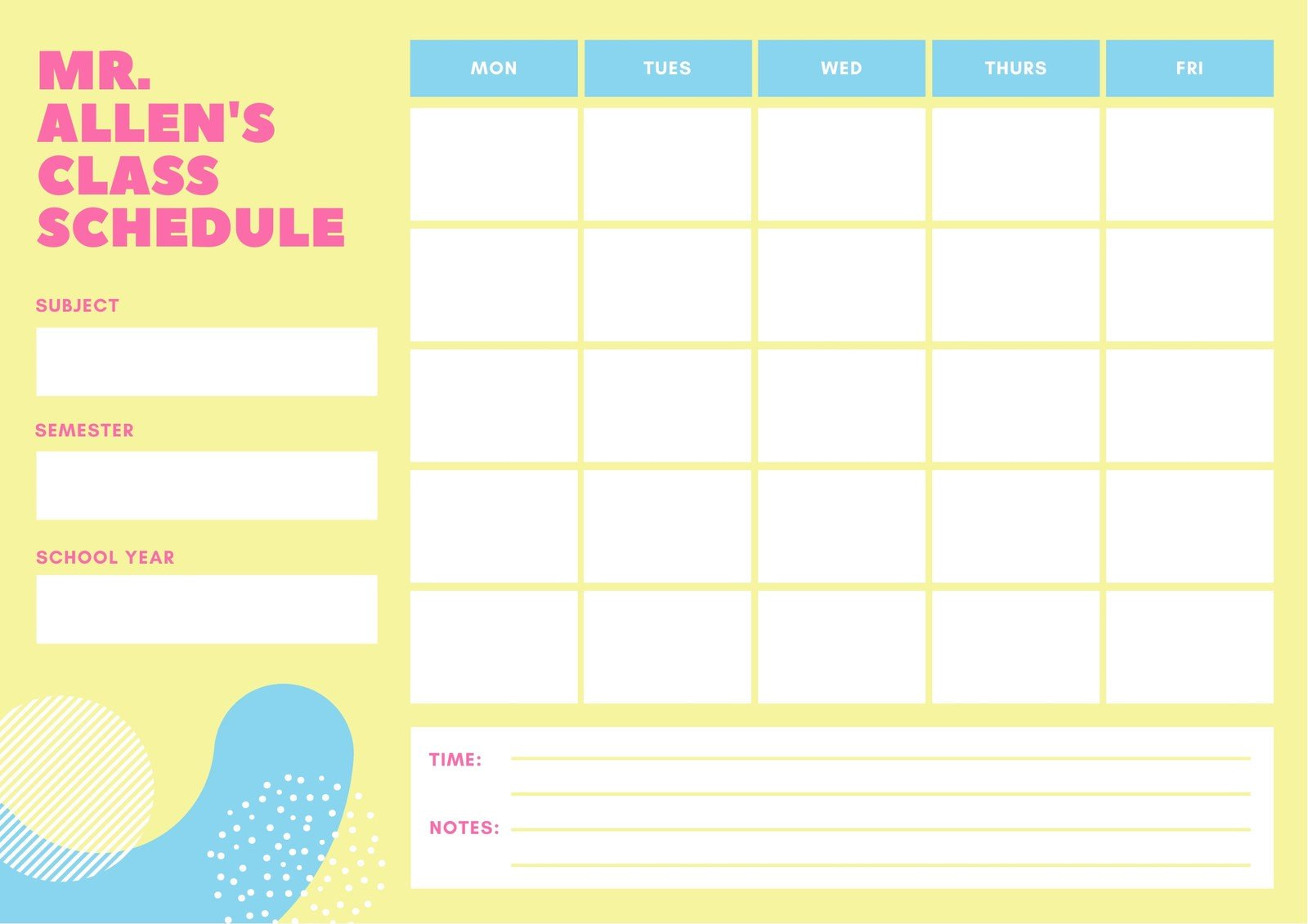 Yellow and Blue Simple Class Schedule