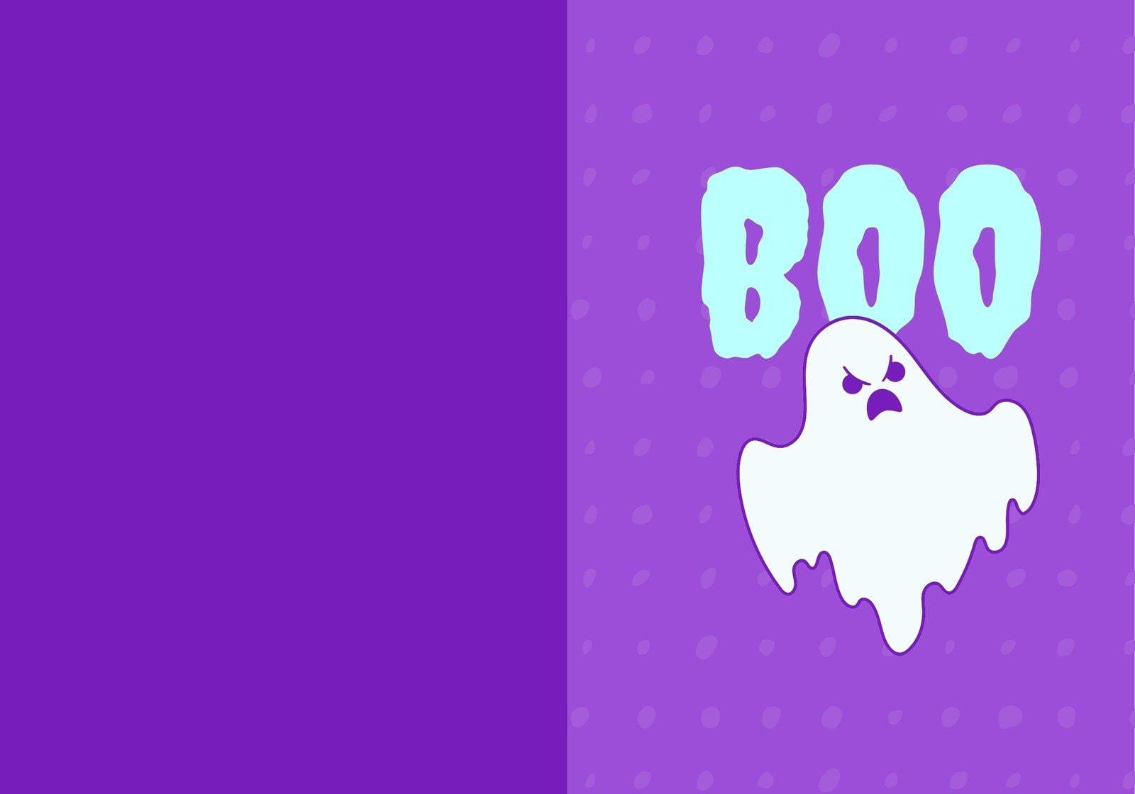 Purple and Cyan Wicked Cute Portrait Halloween Folded Card