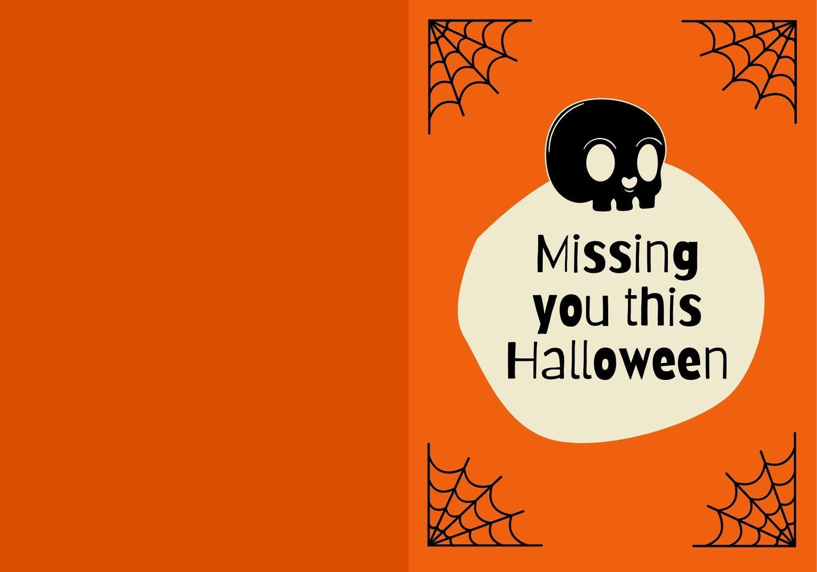 Orange and Beige Wicked Cute Portrait Halloween Folded Card