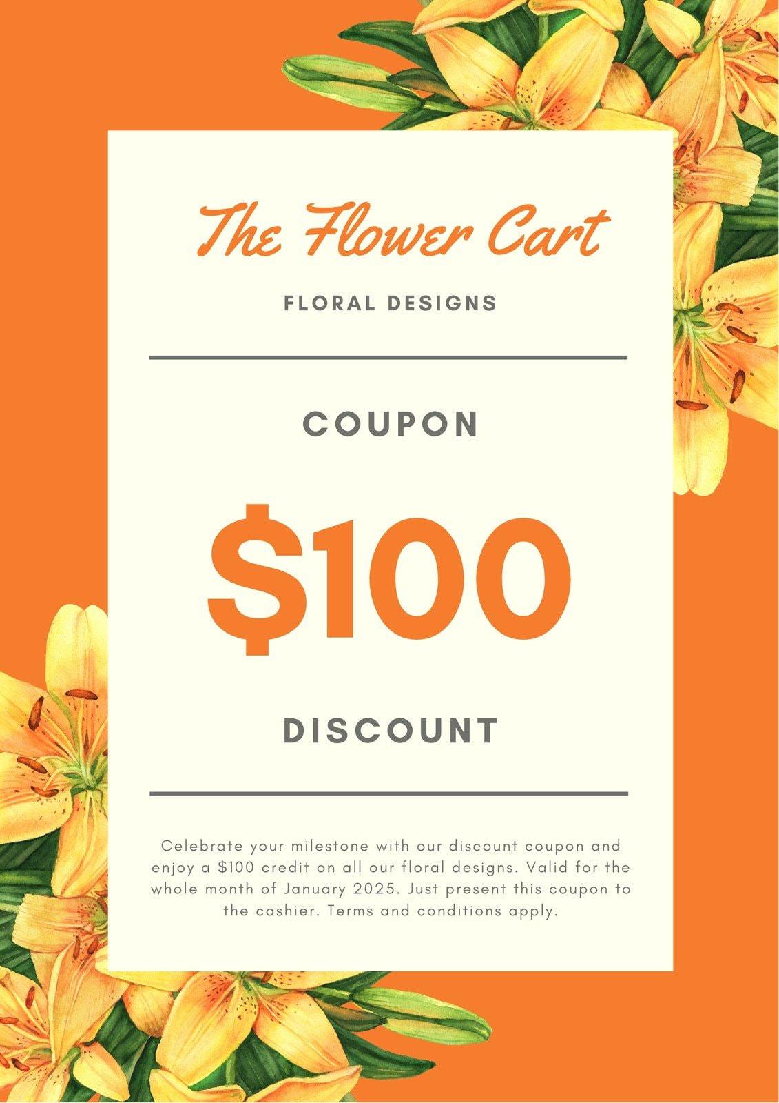 Orange Flowers Discount Coupon