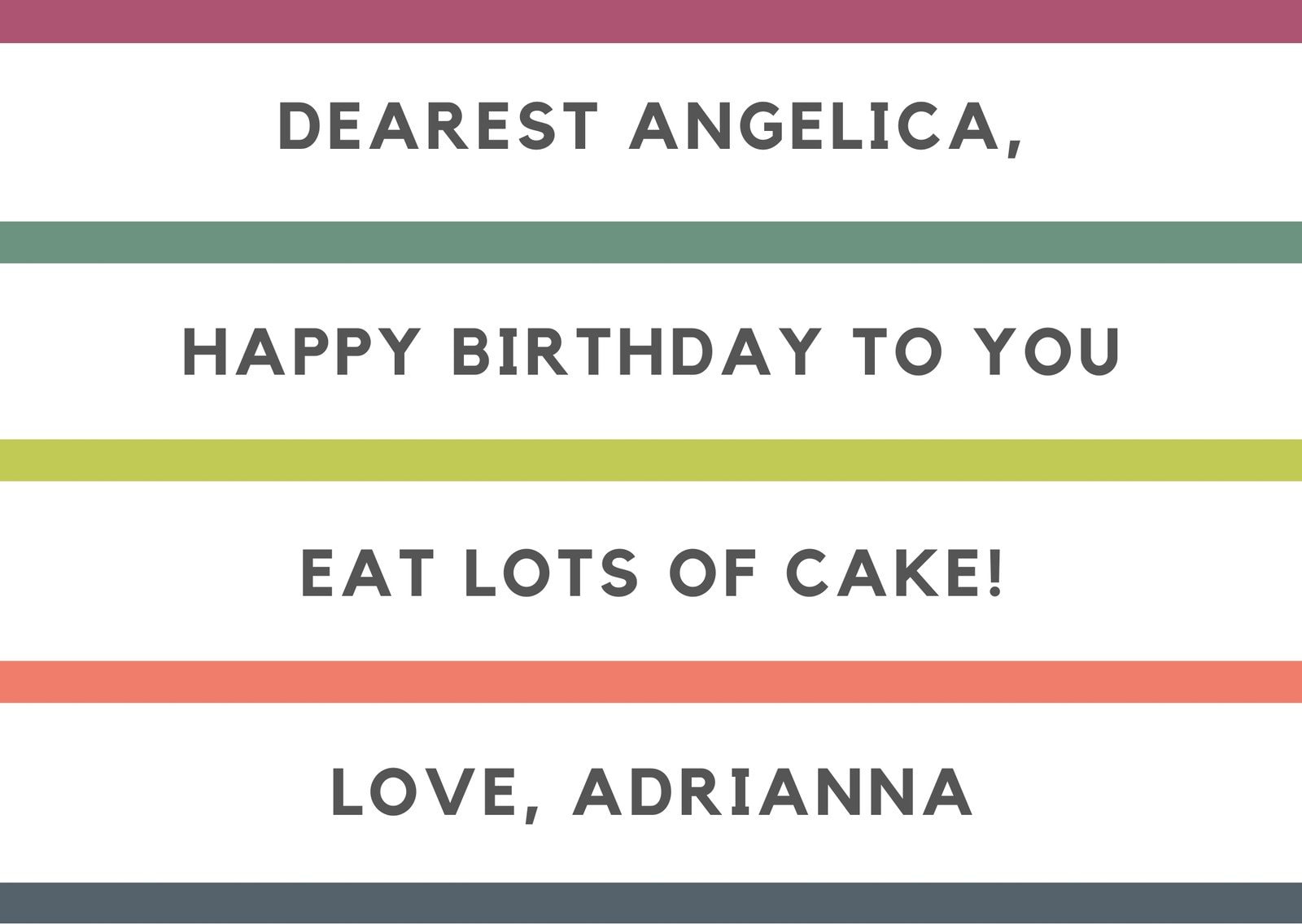 Colorful Stripes Birthday Card