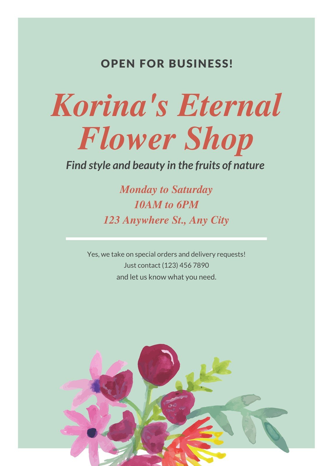 Painted Flower and Plant Shop Grand Opening Flyer
