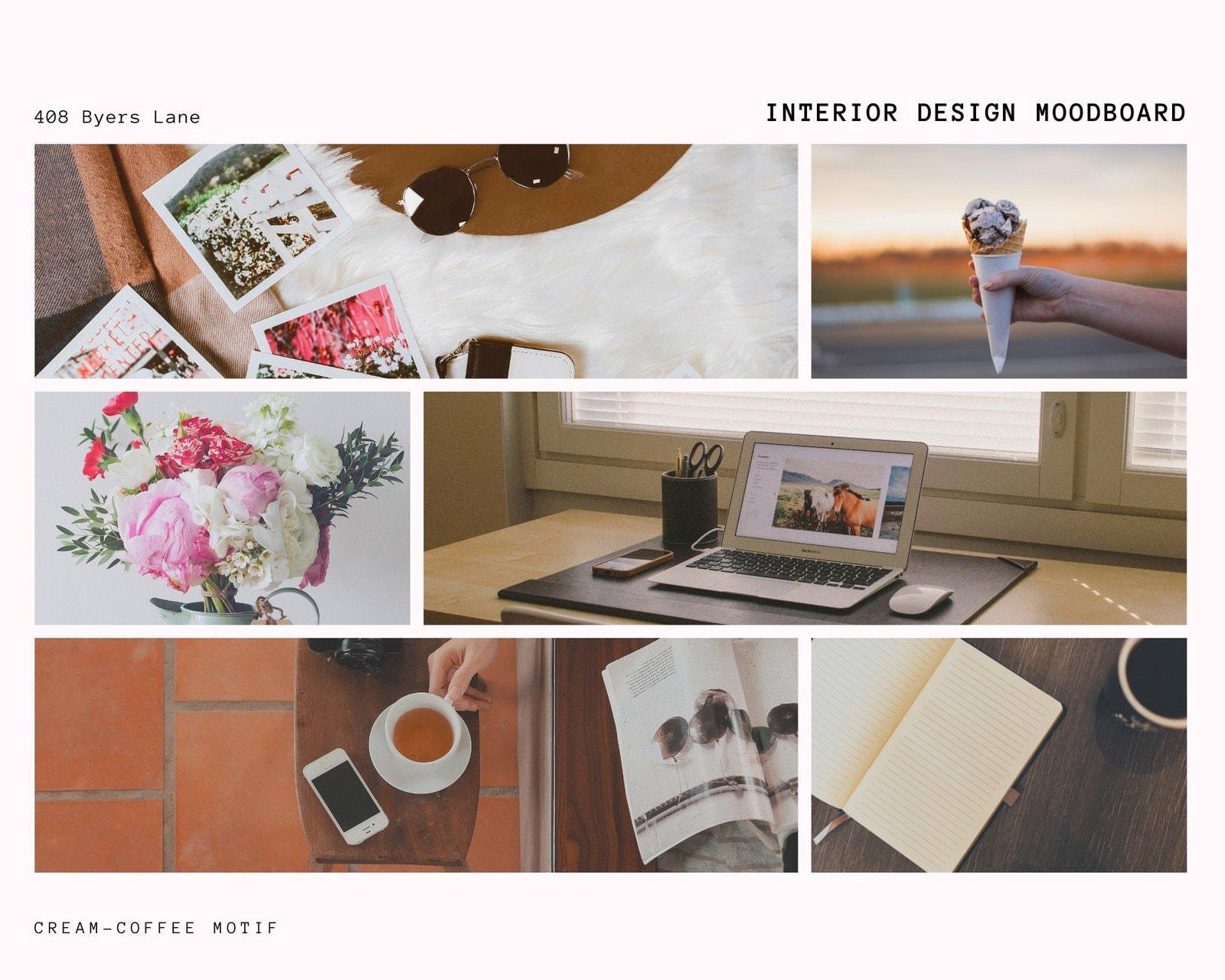Cream and Black Image Interior Design Moodboard