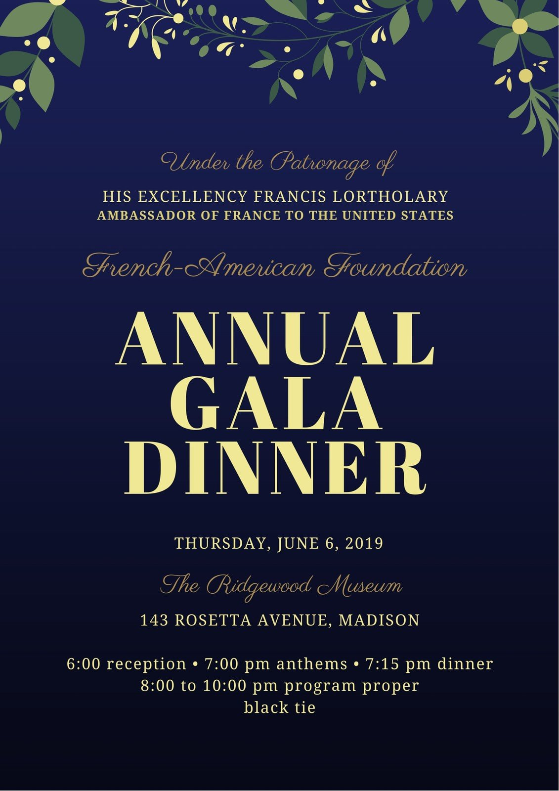 Midnight and Gold Gala Event Program