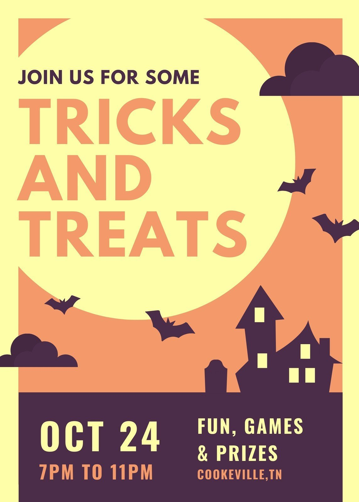 Yellow Orange and Purple Illustrated Haunted House Halloween Party Flyer